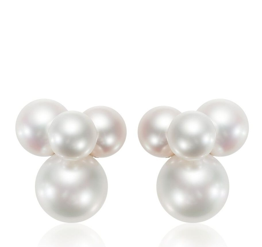 Bubbles cluster earring in 18k white gold with white South Sea and akoya pearls, $8,800