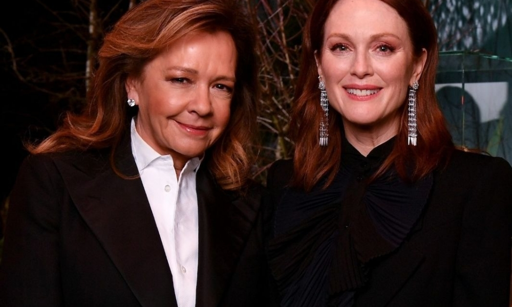Caroline Scheufele of Chopard with actress and brand ambassador Julianne Moore at a press conference at the Baselworld fair in Basel, Switzerland yesterday