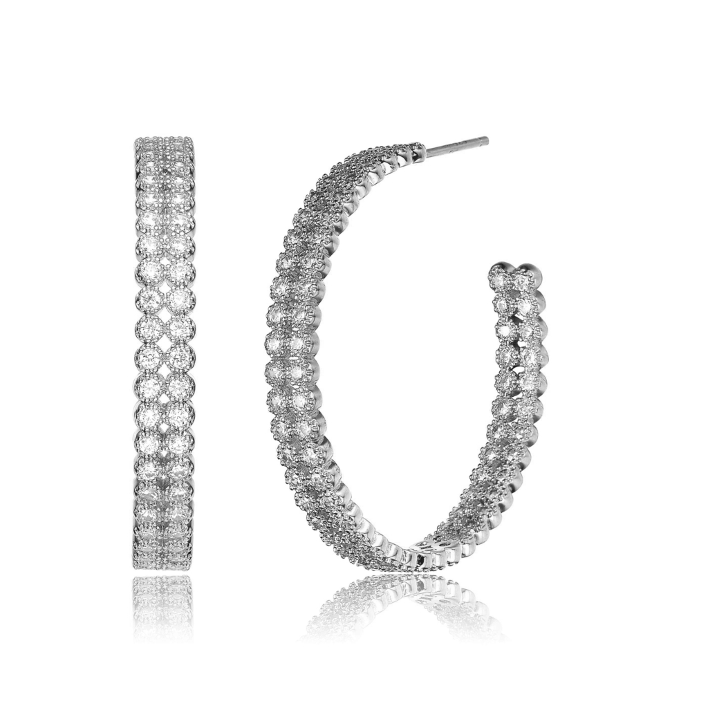 Large Inside-Out hoop earrings in sterling silver with cubic zirconia are 75 percent off $269 with the coupon code BF18 from Genevive.
