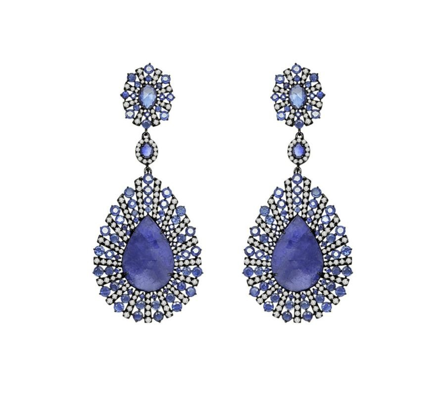 Starburst Drop earrings in 18k gold with black rhodium, 23.93 cts. t.w. pear-shape tanzanite, 14.7 cts. t.w. blue sapphires and 4.21 cts. t.w. diamonds, $14,900; Sutra