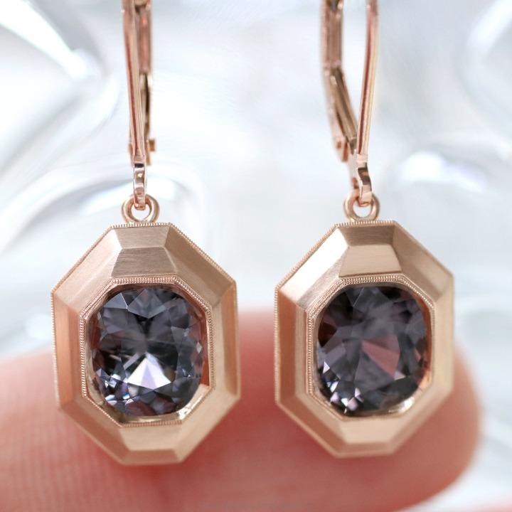 Hana earrings in 18k rose gold with gray spinel start around $6,400. Email erikawinters@gmail.com for purchase.
