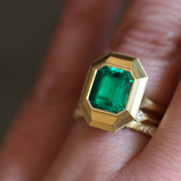 The emerald Hana ring Erika Winters made for her mom. This piece is not for sale.