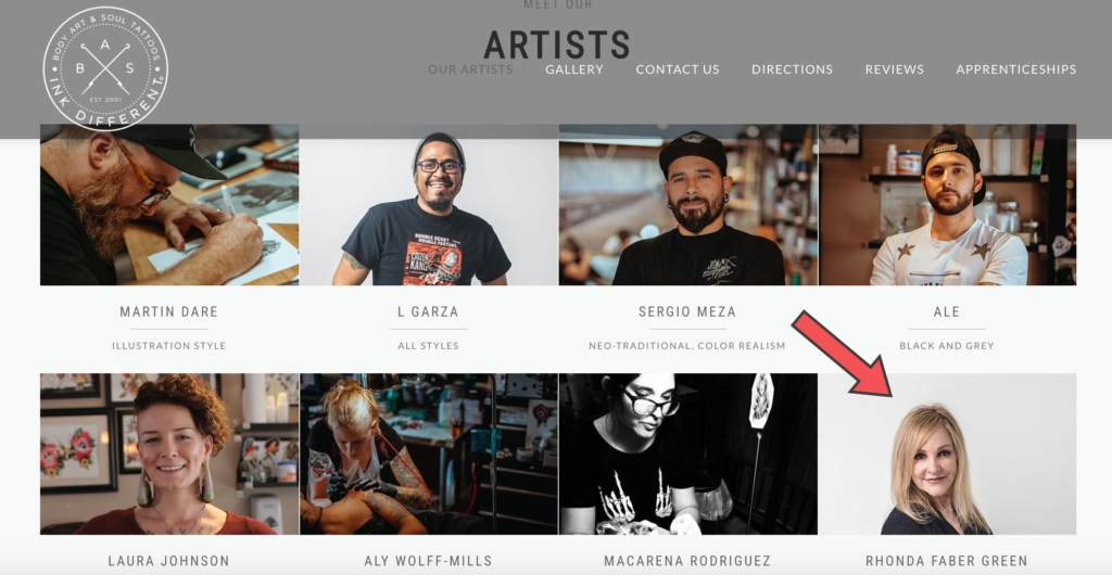 Rhonda Faber Green and her tattoo artist colleagues on the website of Body Art & Soul Tattoos in Los Angeles.