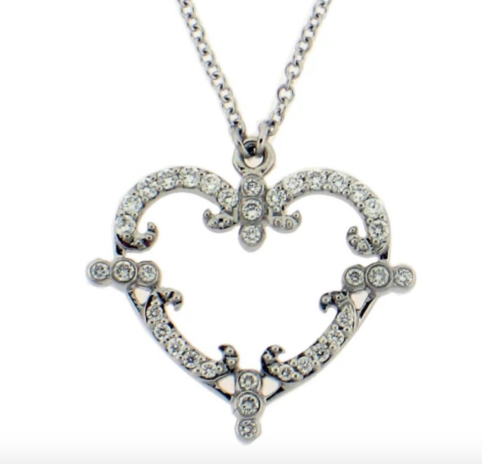Baby Filigreen Heart necklace in 18k white gold with 0.14 ct. t.w. diamonds is $1,249 and is made by jewelry designer and tattoo artist Rhonda Faber Green.