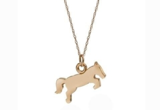 Sales of this Jumping Horse necklace in 14k rose gold from Mikelle Design helps save American horses from slaughter thanks to a partnership with the EQUUS Foundation; $795