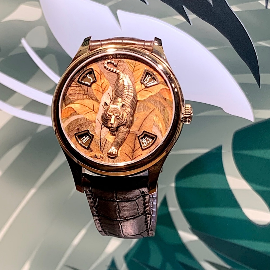 A lion watch featuring hundreds of wood chips from Vacheron Constantin.