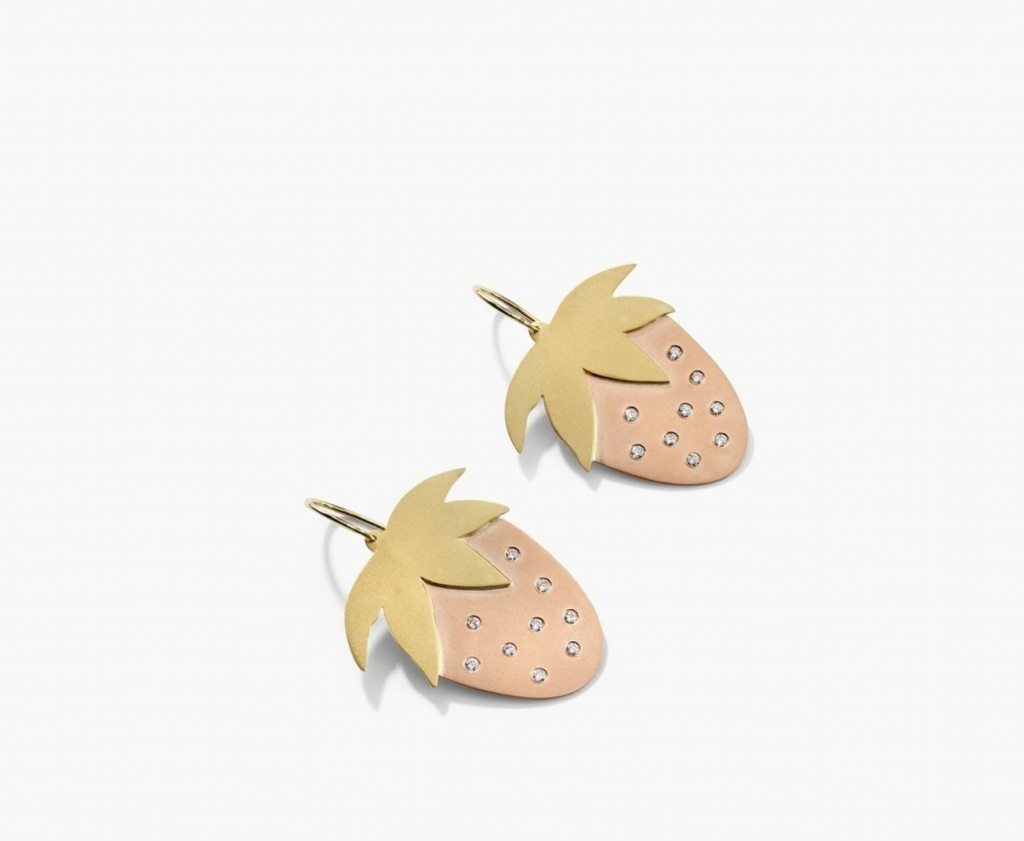 Medium Strawberry earrings in 18k yellow and rose gold with 0.36 ct. t.w. diamonds, $7,790; Irene Neuwirth