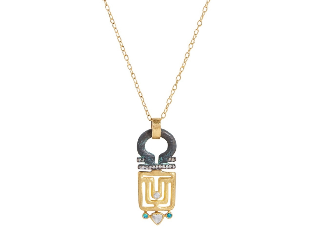 Pendant necklace in 22k–24k gold extends to 22 inches in length and features an original bronze 7th Century Roman key with 0.22 ct. t.w. rose-cut diamonds, 0.09 ct. t.w. colorless diamonds, and 0.06 ct. t.w. opals, $5,950; email Alice@gurhan.com at Gurhan for purchase.