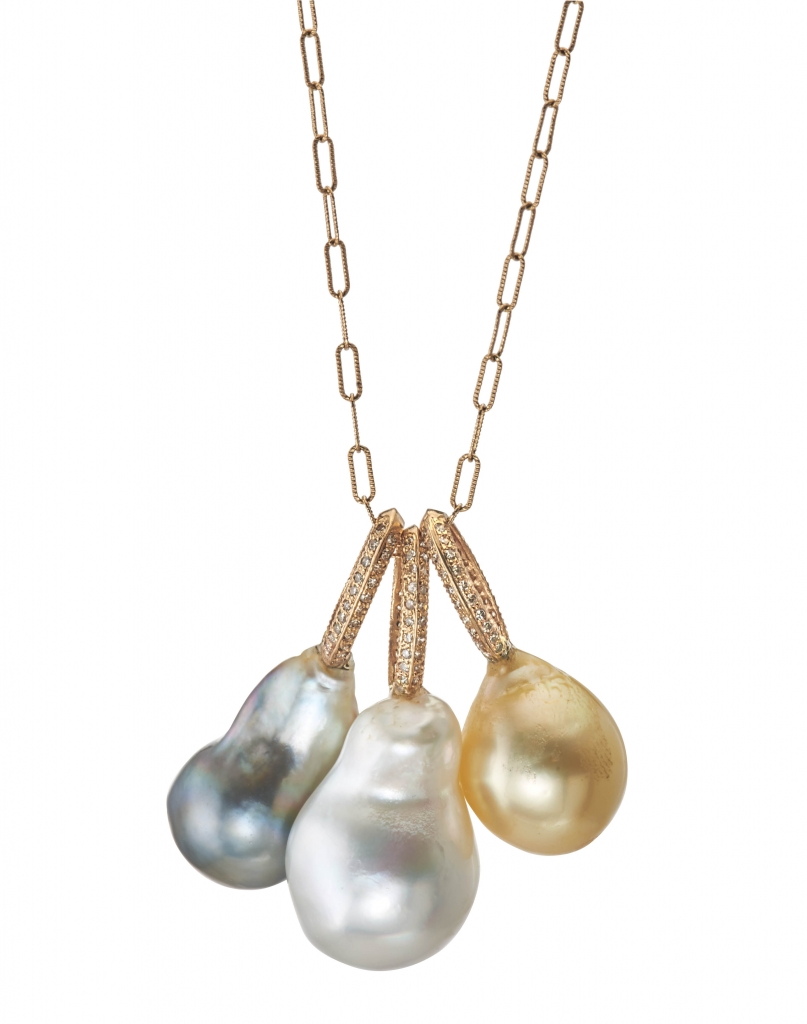 Pendants in 14k gold with diamond-accented bales and Tahitian, white, and golden South Sea cultured pearls, $880–$1,560; email julie@justjules.com at Just Jules for purchase