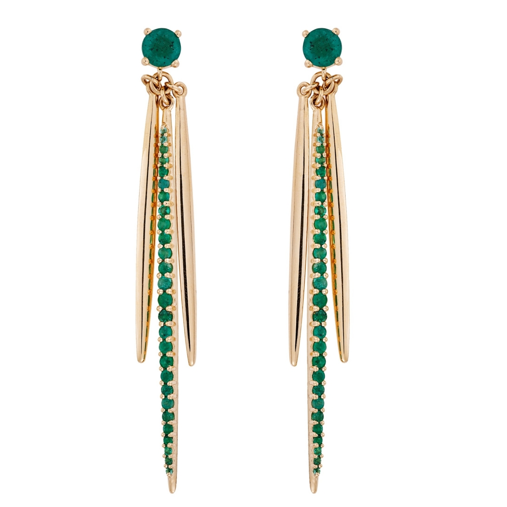 Grass Leaf drop earrings in 18k yellow gold with 1.8 cts. t.w. emeralds, €3,800; Ileana Makri