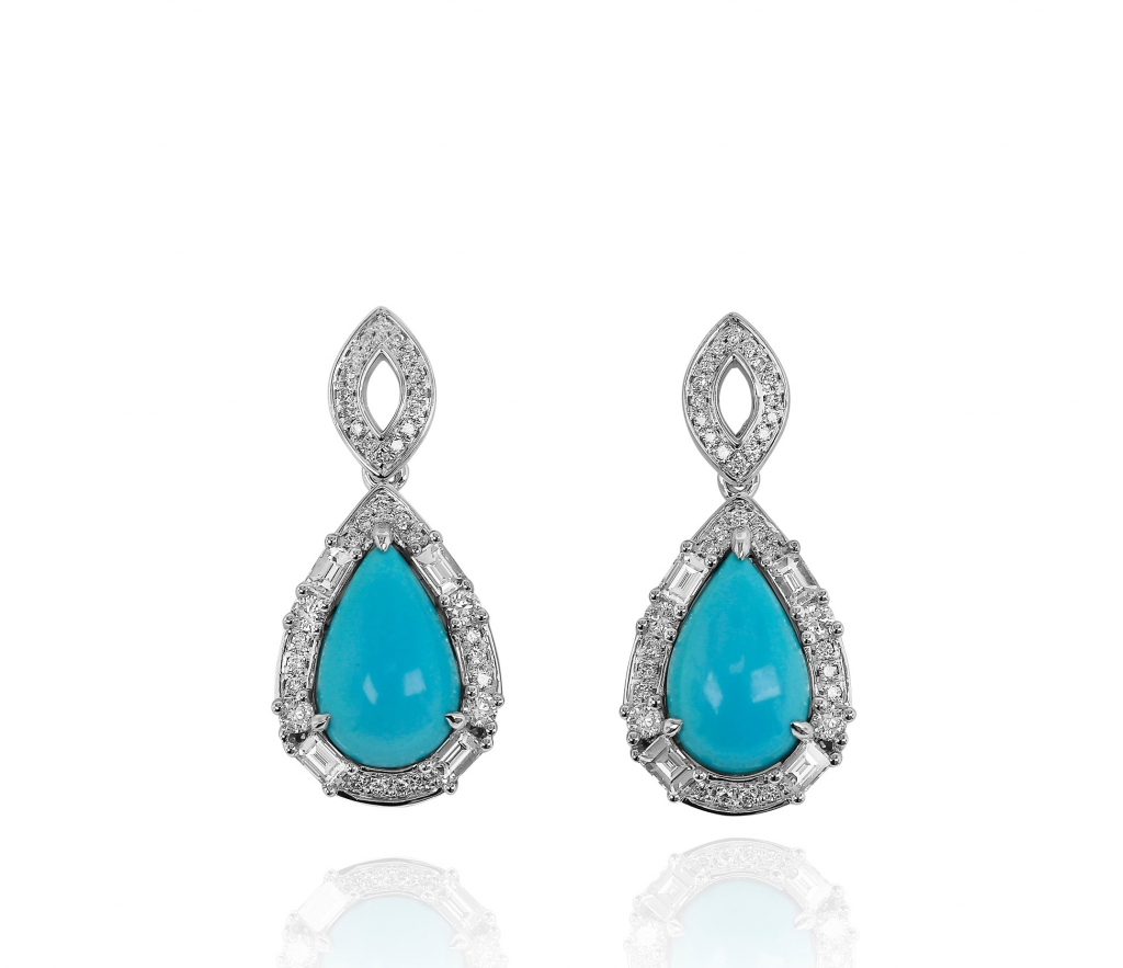 Earrings in 18k white gold with 11.79 cts. t.w. pear-shape turquoise, 0.64 ct. t.w. baguette-cut diamonds, and 0.61 ct. t.w. round-shape diamonds, $9,240; email yehouda@yaeldesigns.com at Yael Designs for purchase