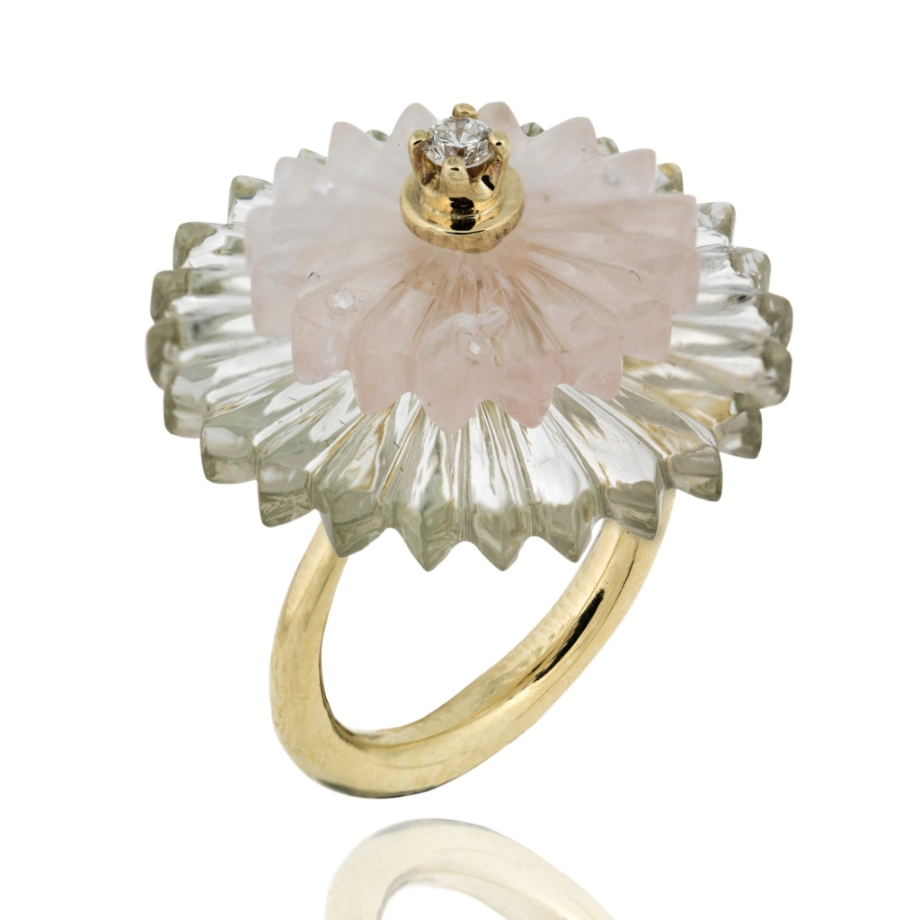 Summer Snow ring in 9k yellow gold with hand-carved amethyst and rose quartz and diamond accents, £1,800; Alice Cicolini