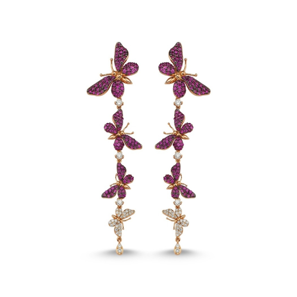 Fauna earrings in 18k rose gold with 2.18 cts. rubies and 0.48 ct. t.w. diamonds, $5,650; Aida Bergsen
