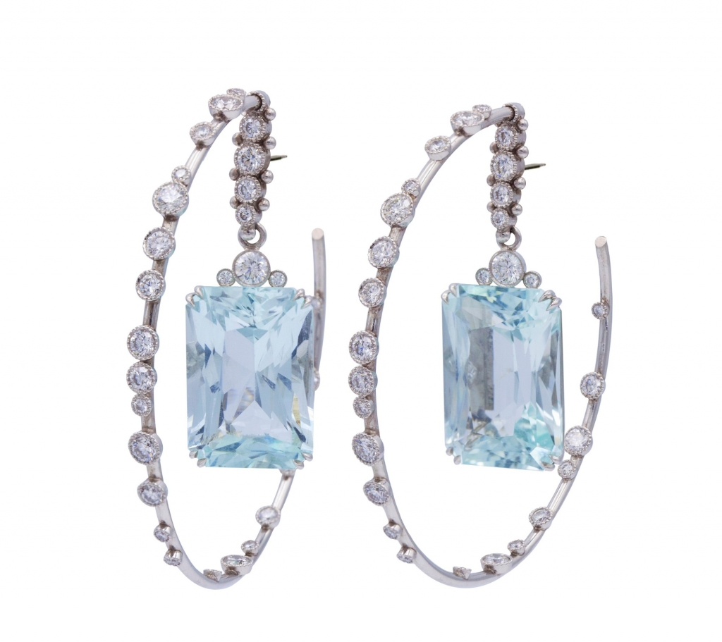Hoop earrings in platinum with 43.27 cts. t.w. aquamarine and 4.295 cts. t.w. diamonds, $52,000; email studio@featherstonedesign.com at Deirdre Featherstone for purchase