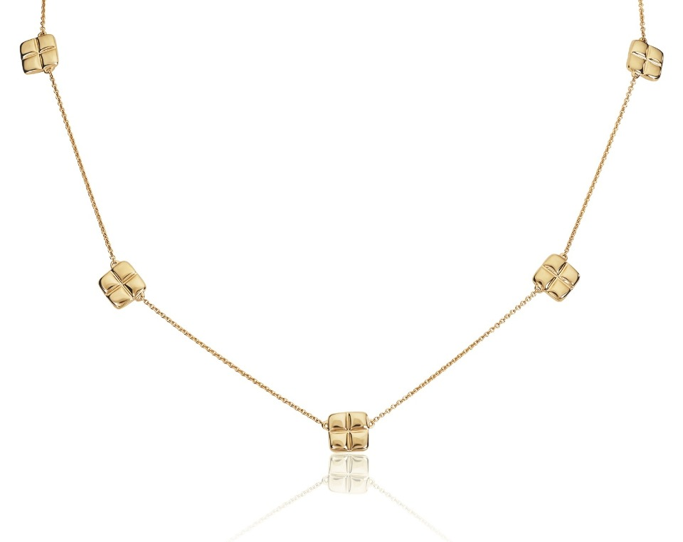 Barcelona station necklace in 14k yellow gold, $795; Graymoor Lane