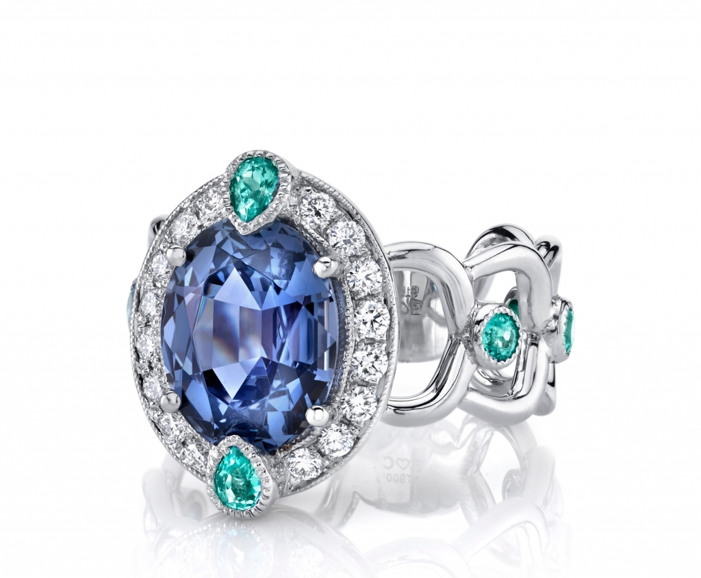 Becca ring in platinum with a 4.29 ct. blue spinel with 0.54 ct. t.w. Brazilian Paraiba tourmaline and 0.34 ct. t.w. diamonds, $30,000; email erica@ericacourtney.com at Erica Courtney for purchase