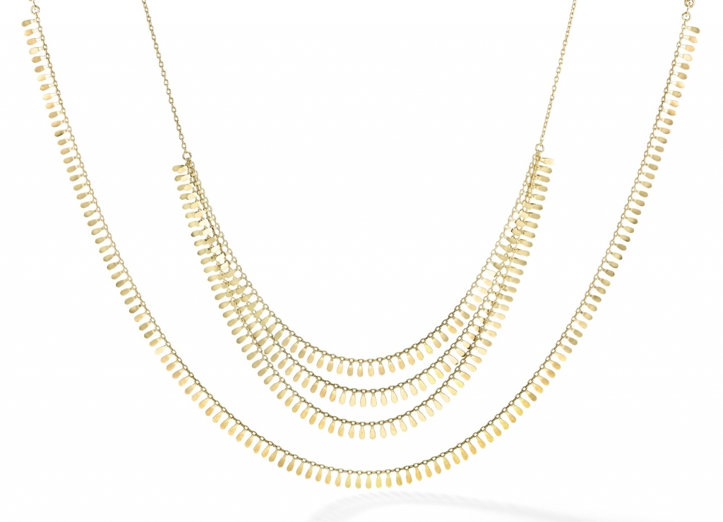 Flora collection petal necklaces in 14k yellow gold, $925–$1,450; email stephanie@royalchain.com at Royal Chain for purchase