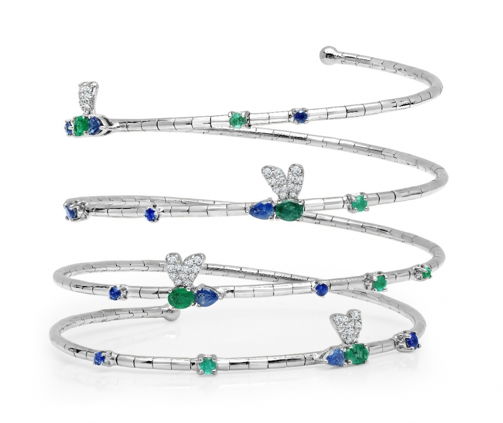 Dragonfly Coil bracelet in 18k white gold with 1.33 cts. t.w. blue sapphires, 0.85 ct. t.w. emeralds, 0.60 ct. t.w. Paraíba tourmaline, and 0.471 ct. t.w. diamonds, $13,650; sales@grazielagems.com for purchase; Graziela Gems