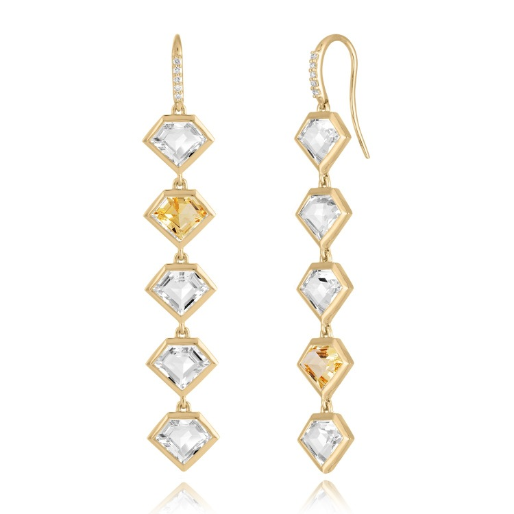 5-Story drop earrings in 18k yellow gold with 0.10 ct. t.w. diamonds, 9.6 cts. t.w. rock crystal, and 2.4 cts. t.w. citrine, $3,895; Julie Lamb