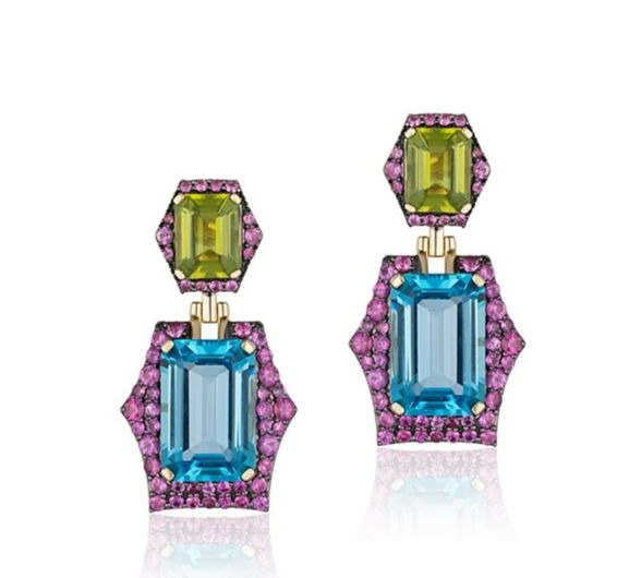 Rainforest earrings in 18k yellow gold with 18.66 cts. t.w. peridot, 4.92 cts. t.w. blue topaz, and 2.99 cts. t.w. pink sapphires, $9,950; email pr-sales@goshwara.com at Goshwara for purchase