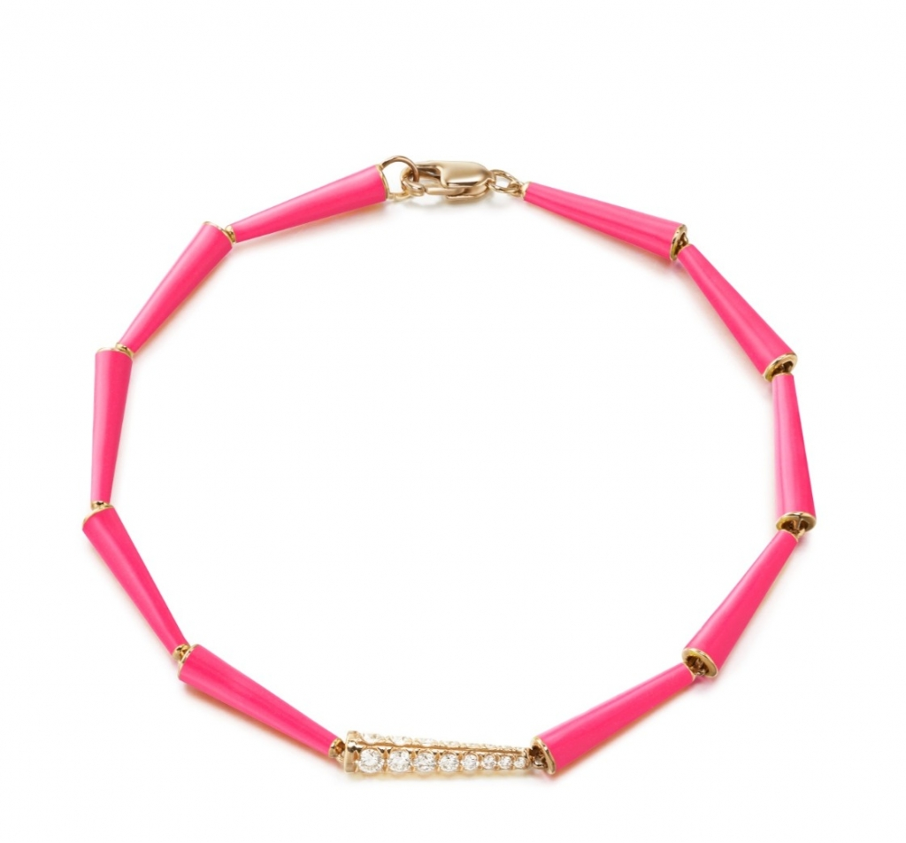 Lola link bracelet in 18k gold with hot pink enamel and 0.45 ct. t.w. diamonds, $3,950; email