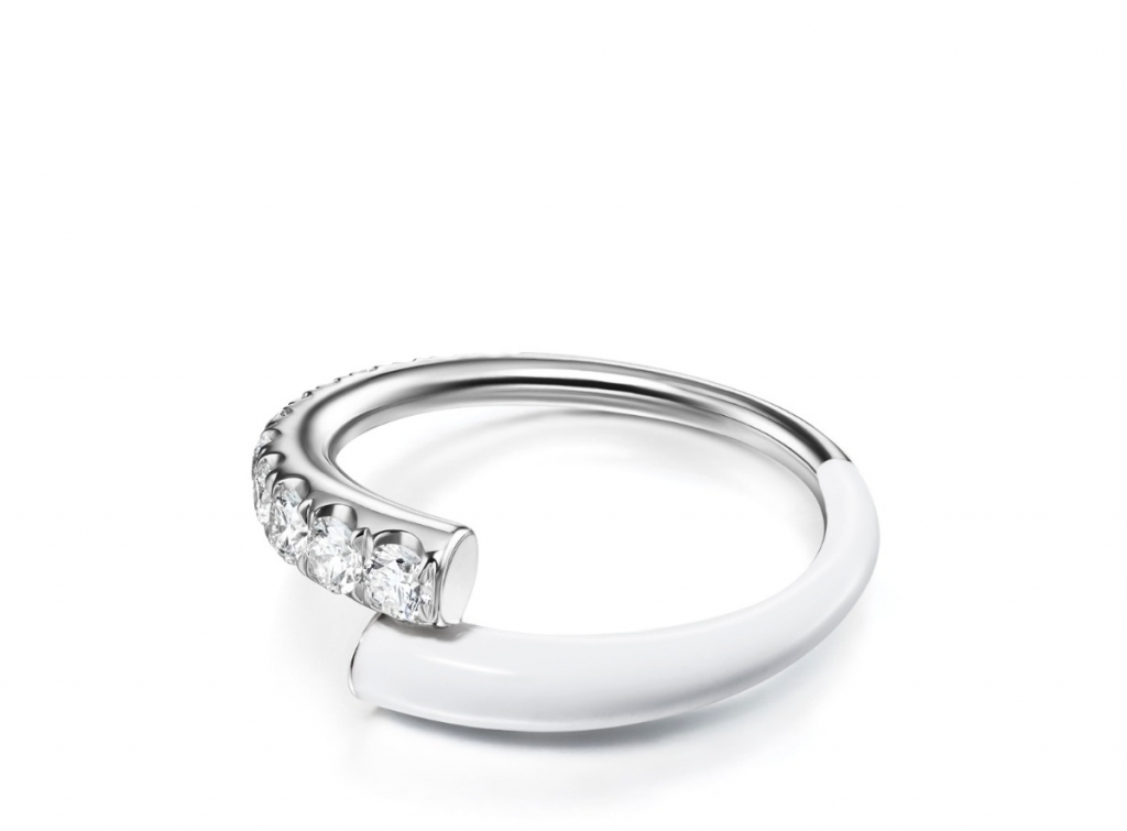 Lola ring in 18k white gold with white enamel and 0.53 ct. t.w. diamonds, $2,850, email melissa@melissakayejewelry.com at Melissa Kaye for purchase.
