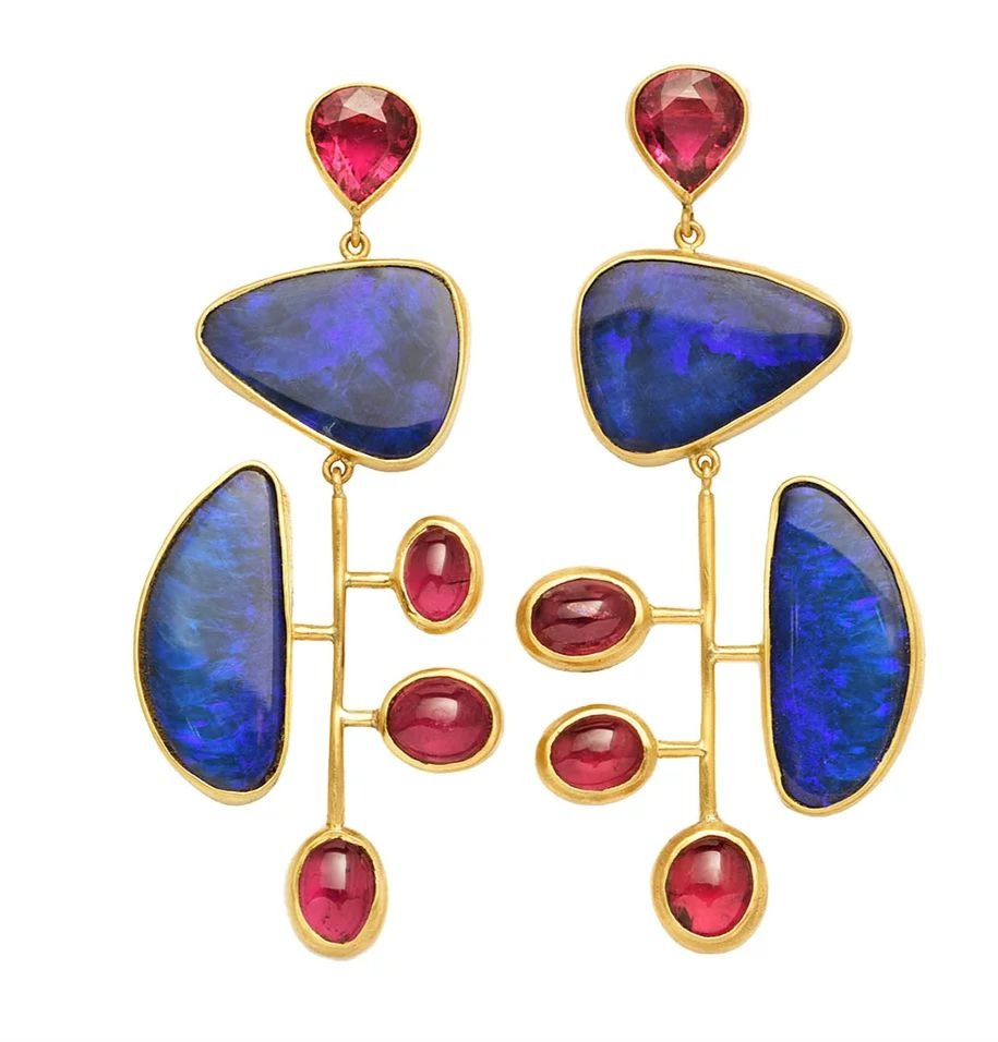 Kinetic drop earrings in 22k yellow gold with blue opals and pink tourmaline, $9,000; Rush Jewelry Design