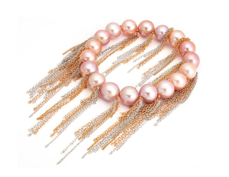 Stretch slip-on bracelet in 18k rose and white gold with fringe and pink cultured Edison freshwater pearls, $4,600; Samira