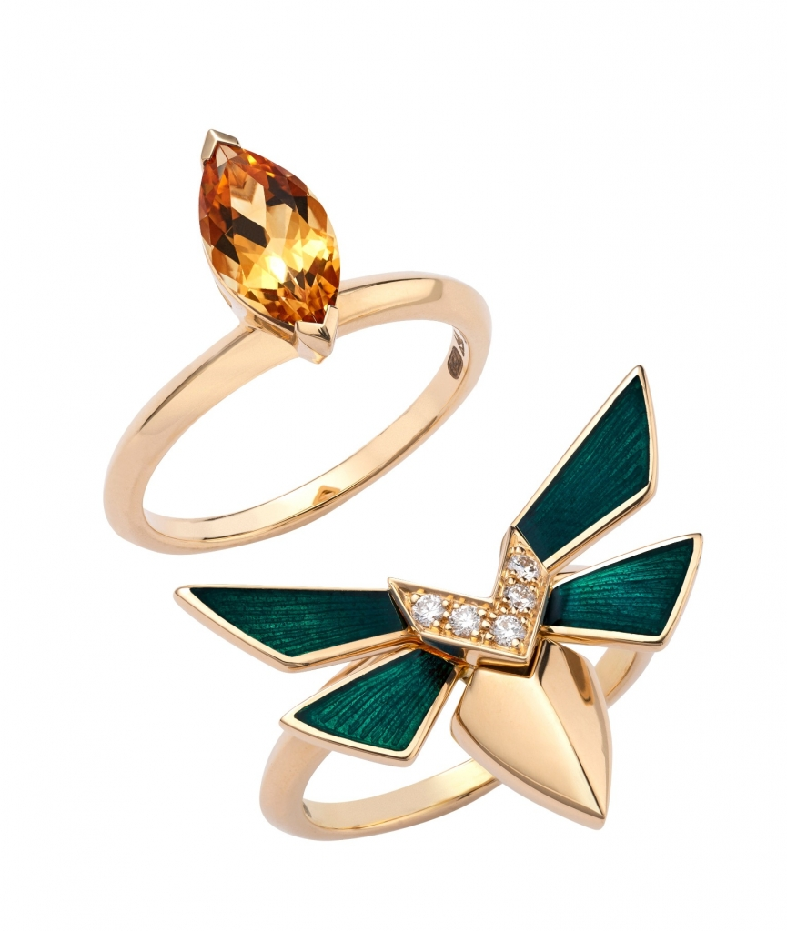 Jitterbug stacking rings in 18k yellow gold with 1.10 cts. t.w. citrine, 0.08 ct. t.w. diamonds, and green enamel wings, $4,200; Stephen Webster