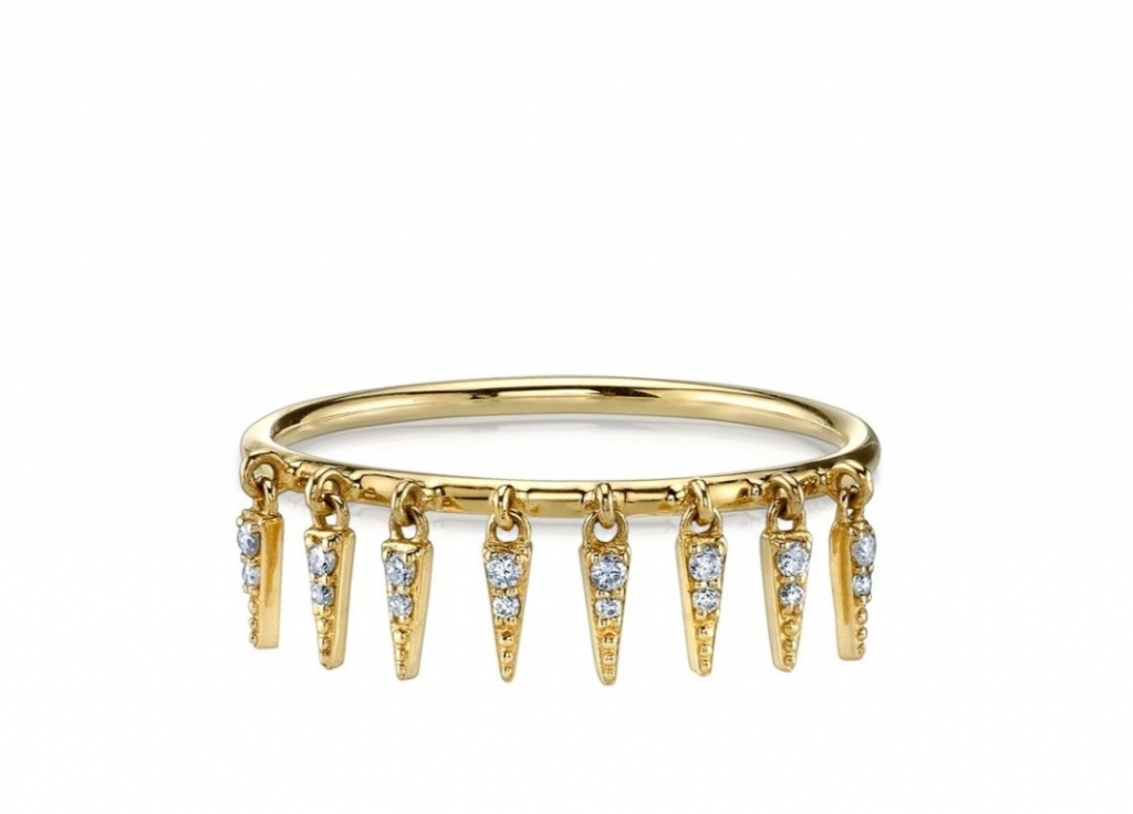 Ring in 14k yellow gold with diamond-accented fringed ornaments, $630; Sydney Evan