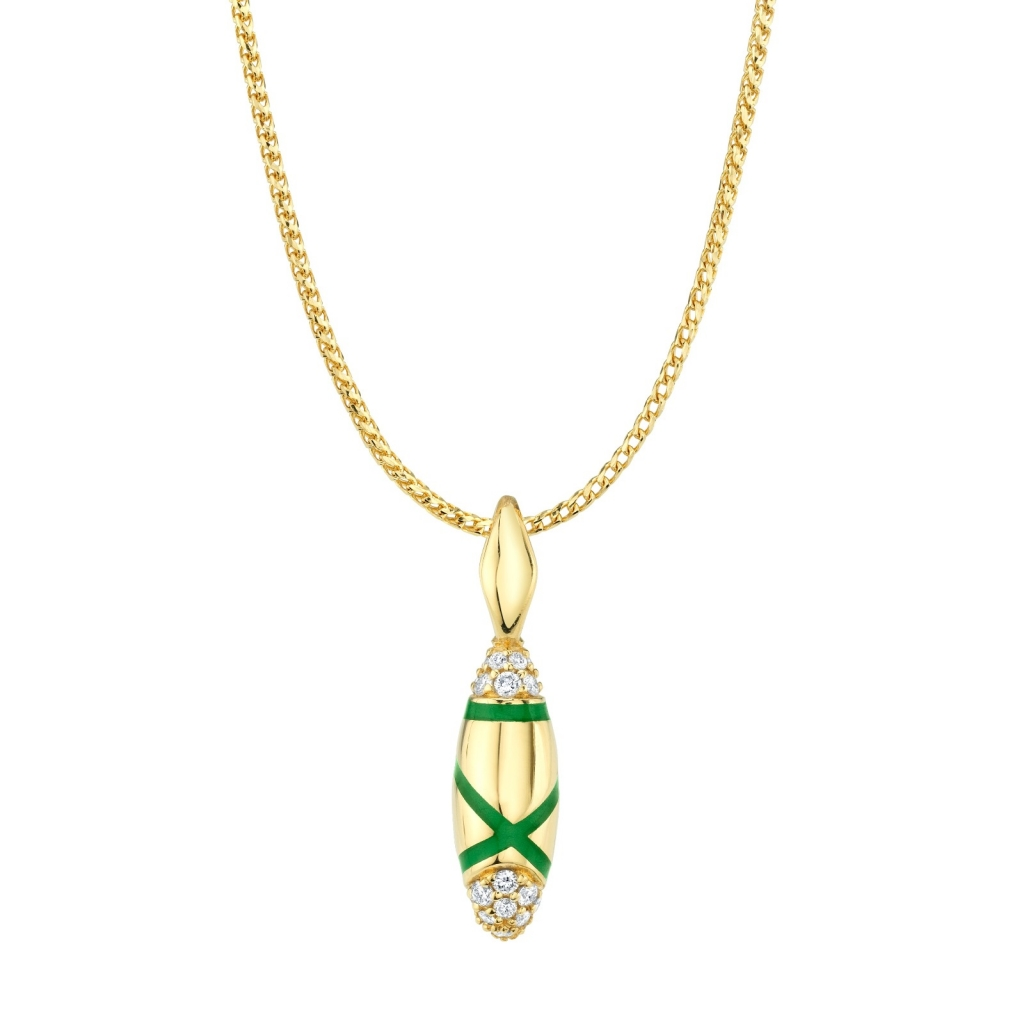 Etta pendant necklace in 18k yellow gold with translucent enamel and 0.32 ct. t.w. diamonds, $2,350; Andy Lif