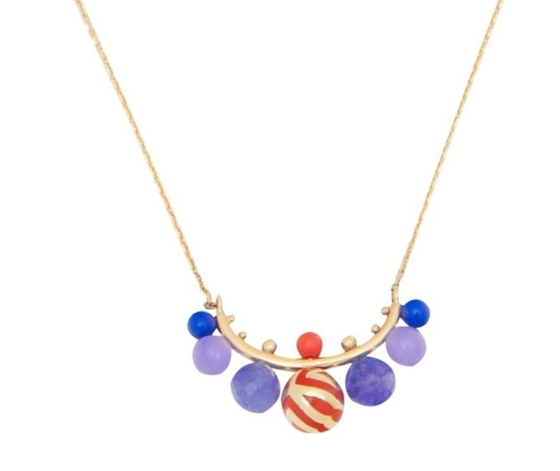 Candy Kimono necklace in 14k yellow gold with lacquer, tanzanite, treated purple jade, lapis lazuli, and reconstituted coral, £1,922.36; Alice Cicolini at Auverture.com