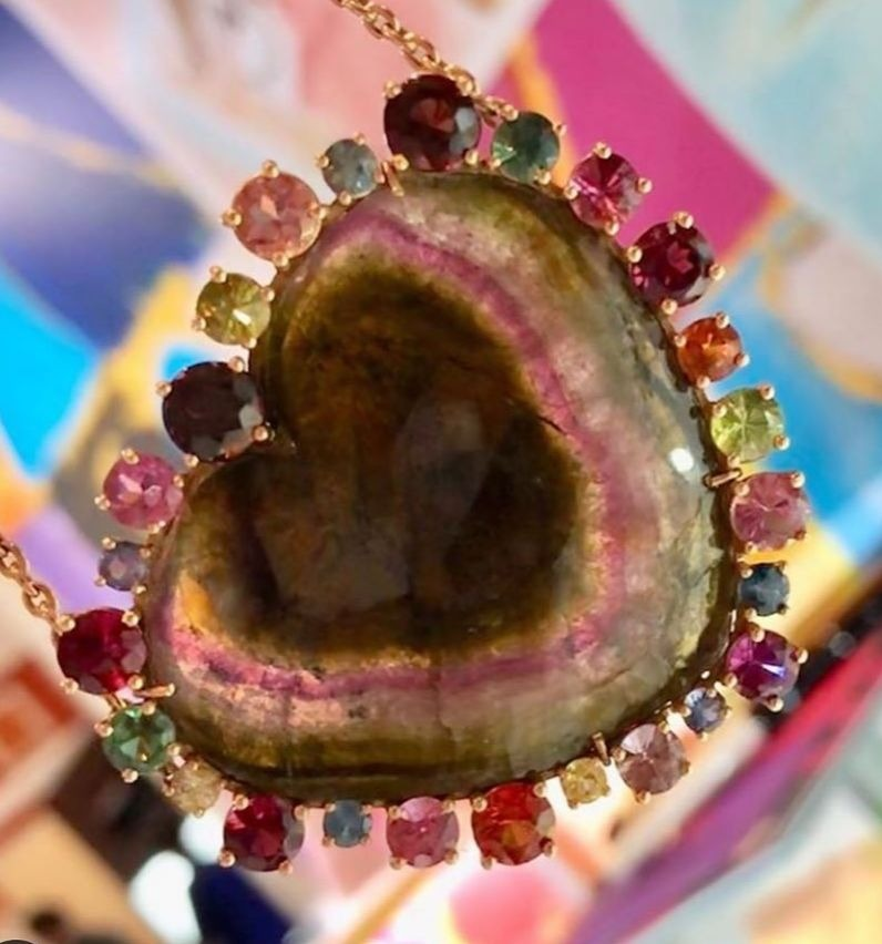Watermelon tourmaline heart necklace with a gemstone halo from Christina Alexiou
