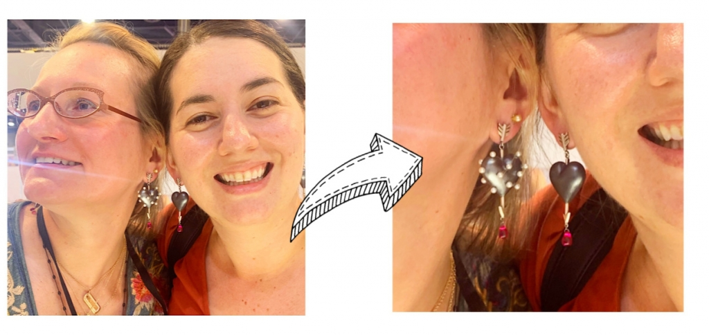 Jen Heebner and Liz Kanter in new heart earrings from Rachel Quinn
