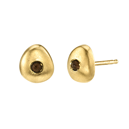Tata stud earrings in 14k yellow gold with 0.03 ct. smoky topaz, $423