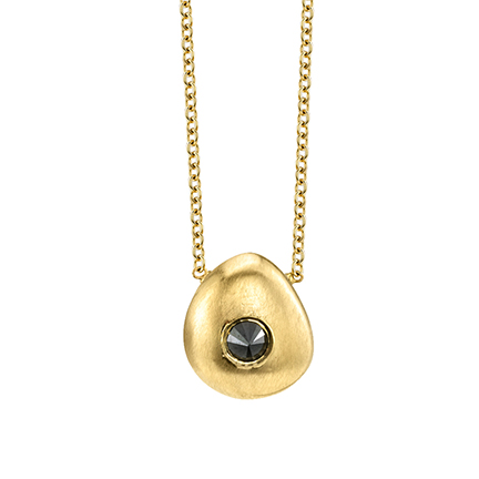 Tata pendant necklace in 14k yellow gold with 0.03 ct. black diamond, $383