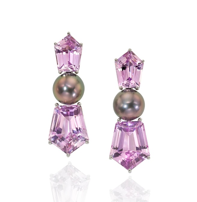 New earrings from Assael feature Tahitian pearls and kunzite