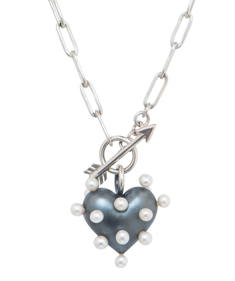 Pin Cushion Heart necklace in oxidized silver with freshwater pearls, $710; Rachel Quinn