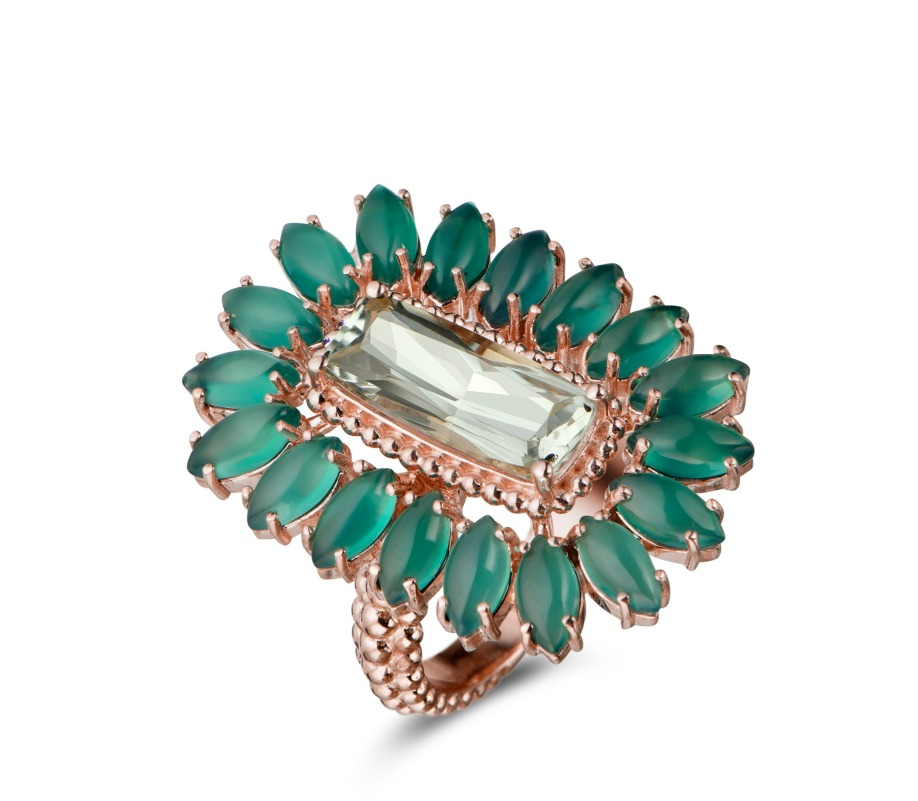 Ring in rose gold with praisiolite and green quartz from Carla Amorim