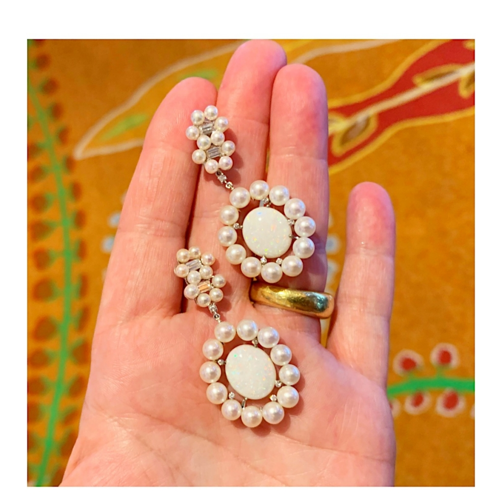 Earrings with white opal, white pearls, and colorless diamonds from Nadine Aysoy
