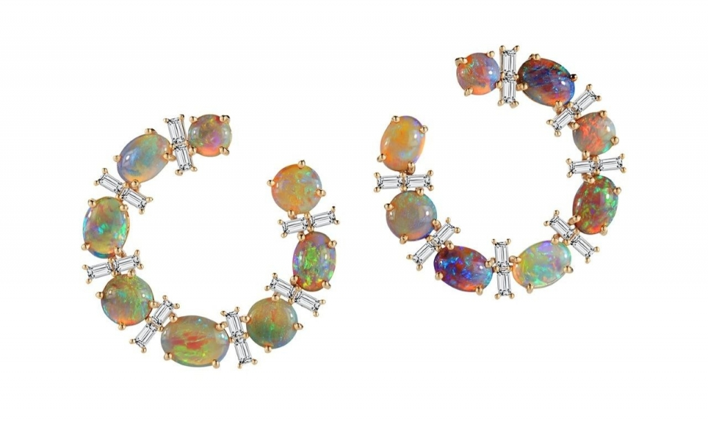Crescent hoop earrings in 18k yellow gold with 7.8 cts. t.w. black opal and 1.21 cts. t.w. baguette shape diamonds, $14,500; email alexandra@katherinejetter.com at Katherine Jetter for purchase