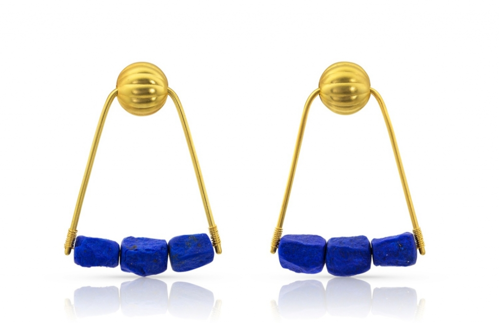 21st Dynasty earrings in 22k yellow gold with hand-chiseled pebbles of lapis lazuli from Afghanistan, $6,500; email loren@lorennicole.com at Loren Nicole for purchase