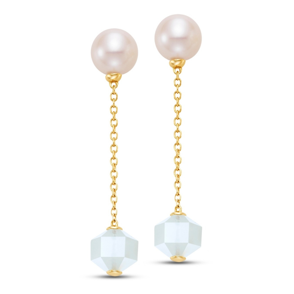 Mastoloni Linear Drop earrings in 14k yellow gold with white freshwater pearls and faceted moonstone beads