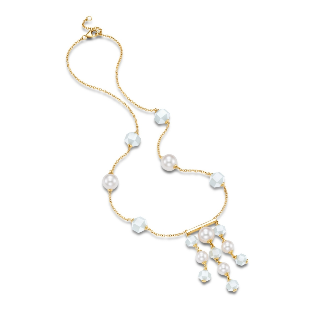 Mastoloni necklace in 14k yellow gold with white freshwater pearls and faceted moonstone beads
