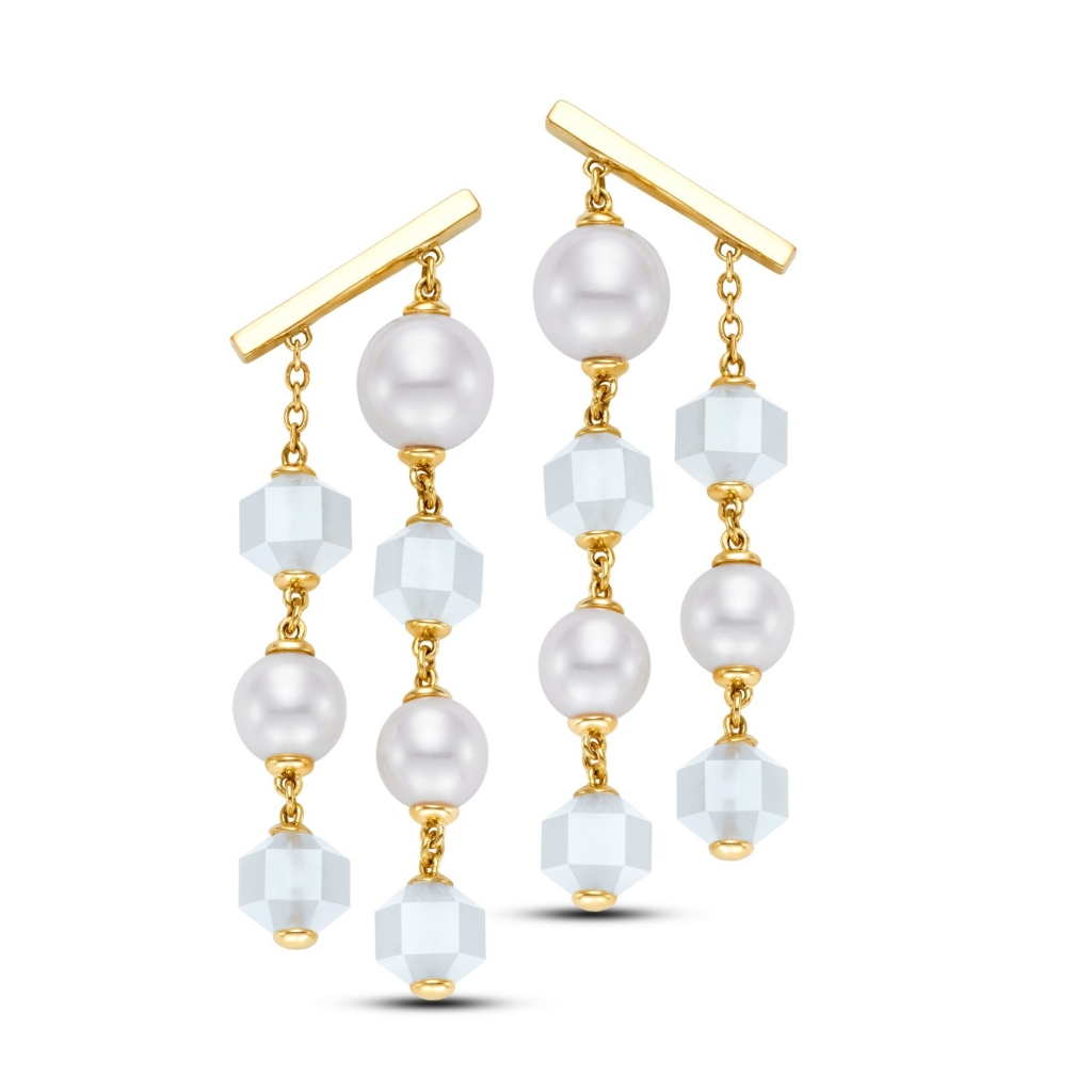 Mastoloni Drop earrings in 14k yellow gold with white freshwater pearls and faceted moonstone beads