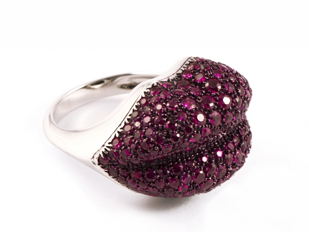 Ring in 18k white gold with 2.96 cts. t.w. rubies, $5,300; email annalisa.dasilva@mattioligioielli.it at Mattioli for purchase