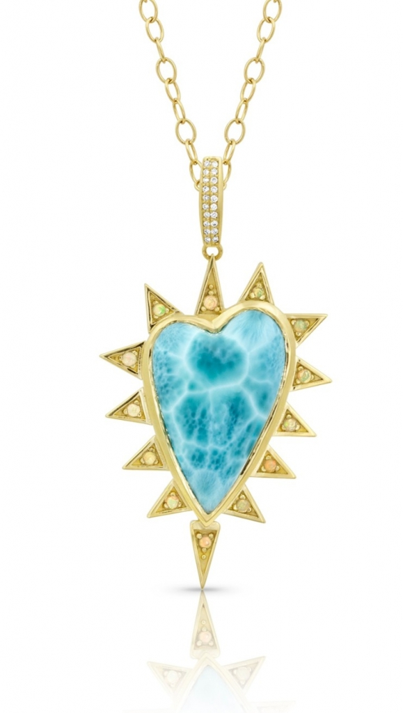 Heart pendant necklace in 18k yellow gold with a heart-shape Larimar, opal, and 0.11 ct. t.w. diamond on a 30-inch chain, $9,000; email mspalten@gmail.com at M. Spalten for purchase.
