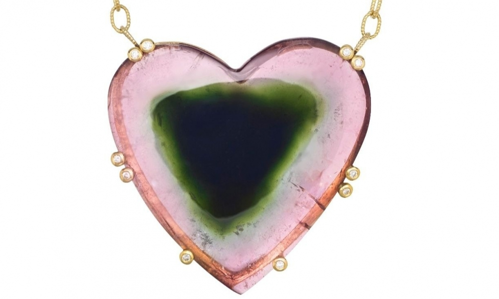 Joon Han watermelon tourmaline heart necklace