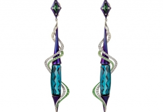 Aria earrings in purple titanium, 14k white and green VeraGold with 41.45 cts. t.w. indicolite tourmalines, 3.34 cts. t.w. tsavorite garnets, and 2.42 cts. t.w. diamonds by Adam Neeley