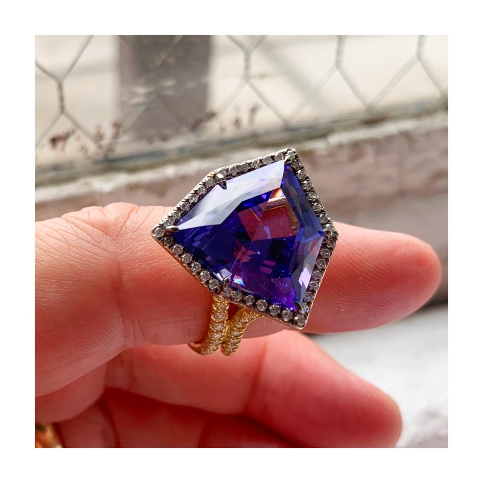 Ring in 18k white gold with black rhodium and a 17.8 ct. tanzanite and 0.91 ct. t.w. diamonds by Marcia Budet